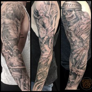 Couple of nice sleeves i completed a little while back.. I love large scale black and grey projects!!👽✌️#sleeve #sleevetattoo #sleevetattoos #blackandgrey #blackandgreytattoo #blackandgreytattoos #blackandgray #blackAndWhite #blackandgraytattoo #Texas #texastattoo #texastattooartist