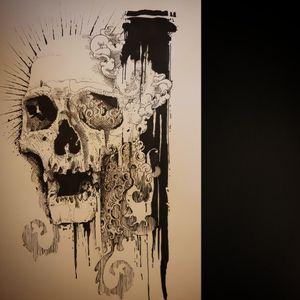 #flashtattoodispo #tattooflash #skull #davyleboucher #manticoretattoostudio #toulouse #tuelamort #blackworker #blackink #darkart #graphictattoo #sketchstyle #darkartists #onlyblackart #blacktattoo #darkornaments