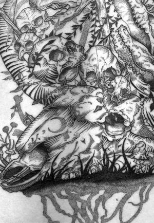 Closer detail of part of Quinn's back. #revoltingworship #americancrowtattoo #tattoo #blackwork #blackworktattoo #blackworkers #btattooing #blckink #tattoos #darkart #darkartists #darkartist #tttism #blxckink #onlythedarkest #blackclaw #columbustattooers #ohiotattooers #thedarkestwork #blkttt #ttmmt #animalskulls #skulltattoo #spiderwebtattoo