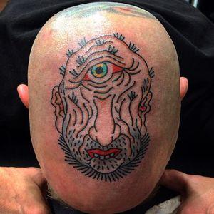 Tattoo by Koji Ichimaru #KojiIchimaru #Japanesetattoo #Irezumi #color #yokai #ghost #demon #monster #scalptattoo #headtattoo