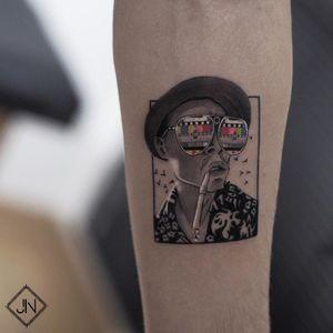 Tattoo by Jefree Naderali #JefreeNaderali #HunterSThompsontattoo #HTStattoo #HunterSThompson #gonzotattoo #writer #drugs #illustrative #portrait #color #blackandgrey