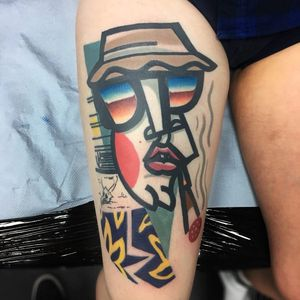 Tattoo by Mike Boyd #MikeBoyd #HunterSThompsontattoo #HTStattoo #HunterSThompson #gonzotattoo #writer #drugs #abstract #portrait #color