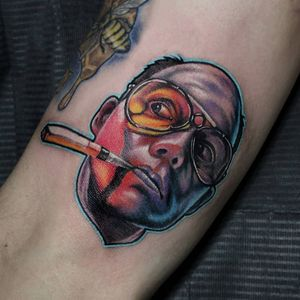 Tattoo by Trish Donnelly #TrishDonnelly #HunterSThompsontattoo #HTStattoo #HunterSThompson #gonzotattoo #writer #drugs #color #realism #realistic
