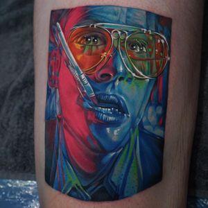Tattoo by Khan Tattoo #KhanTattoo #HunterSThompsontattoo #HTStattoo #HunterSThompson #gonzotattoo #writer #drugs #color #photorealism #warped #portrait