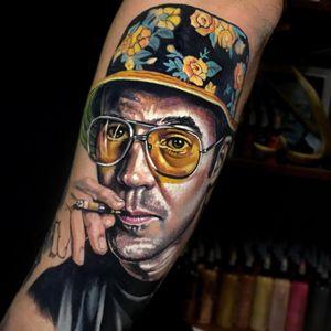 Tattoo by Kristian Kimonides #KristianKimonides #HunterSThompsontattoo #HTStattoo #HunterSThompson #gonzotattoo #writer #drugs #portrait #realistic #realism #hyperrealism #color