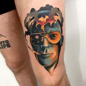 Tattoo by Giena Todryk #GienaTodryk #HunterSThompsontattoo #HTStattoo #HunterSThompson #gonzotattoo #writer #drugs #color #portrait #galaxy #stars #smoke