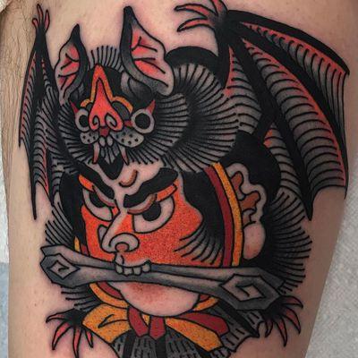 Tattoo by Koji Ichimaru #KojiIchimaru #Japanesetattoo #Irezumi #portrait #bat #animal