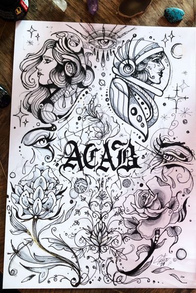 #flash #spacexmagic #acab #spacelady #cosmic #letters #flowers #flashwork #neotraditonal #traditional