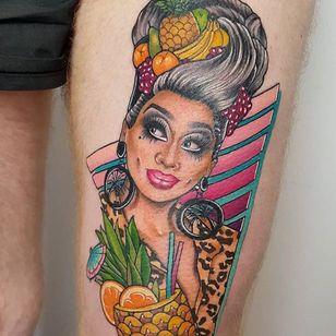 Tattoo by Tanya Buxton #TanyaBuxton #dragqueentattoos #dragqueen #RupaulsDragRace #dragrace #dragshow #rupaul #color #neotraditional #newschool #portrait #biancadelrio