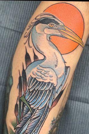 #blueheron #everglades #fortlauderdale #florida #neotraditional #neotraditionaltattoos #boldwillhold #fourarrows #birdtattoo #bird #heron #sunrise