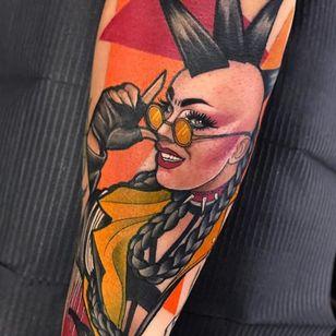 Tattoo by Maria Lavia #MariaLavia #dragqueentattoos #dragqueen #RupaulsDragRace #dragrace #dragshow #rupaul #color #neotraditional #newschool #portrait #sashavelour