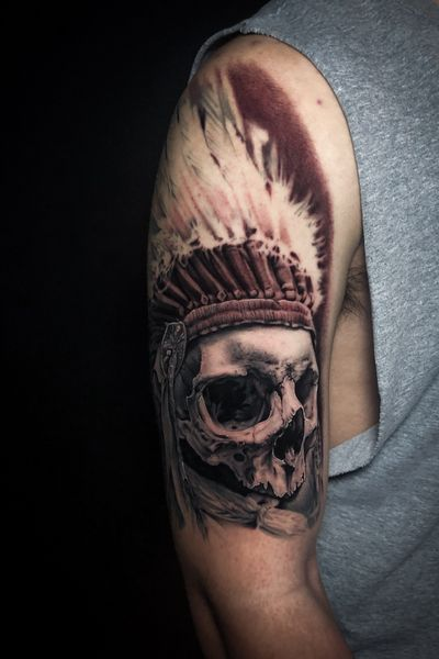 Recently completed headress and skull. Some fresh, some healed. Thanks for looking! #blackandgrey #TattooSleeve #skulltattoo #indian #tatted #austintexas