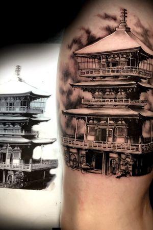 Mico pagoda #microtattoo #fineline #smalltattoo #realistic #japanesetattoo #austintx #atx #kyletx #texastattoo
