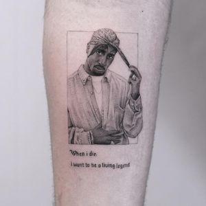 Tattoo by Edit Paints #EditPaints #coolesttattoos #cooltattoo #favoritetattoo #besttattoo #blackandgrey #illustrative #rapper #famous #tupac #portrait #realism #realistic #font #text #quote