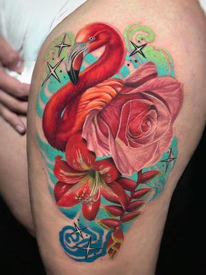 Tattoo by Megan Massacre #MeganMassacre #tattoodoambassador #toptattoos #color #realism #realistic #hyperrealism #flamingo #stars #rose #flower #floral
