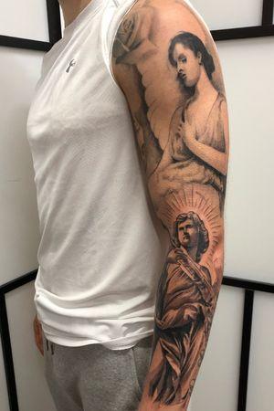 Finished #blackandgrey #TattooSleeve #blackandgreytattoo #blackandgreysleeve #tattooartist #angeltattoo