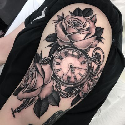 Pocket watch and roses #london #pocketwatch #rose #roses #neotraditional #blackandgrey