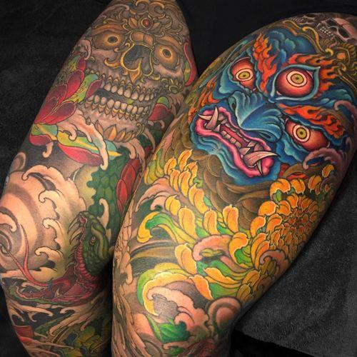 Tattoo by Chris Crooks #ChrisCrooks #tattoodoambassador #toptattoos #japanese #neojapanese #masks #deity #snake #chrysanthemum #flower #floral #color