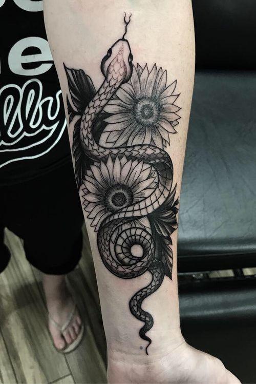 #snake #sunflower #flowers #Black #blackandgrey #linework