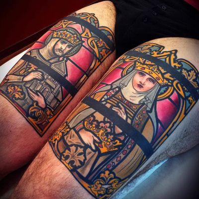 Tattoo by Mikael de Poissey #MikaelDePoissy #tattoodoambassador #toptattoos #color #portrait #stainedglass #saints #religious #goldfiligree