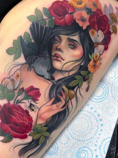 Tattoo by Hannah Flowers #HannahFlowers #tattoodoambassador #toptattoos #color #portrait #ladyhead #bird #raven #snail #flowers #floral #roses #butterflys #bees