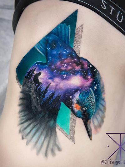 Tattoo by Chris Rigoni #ChrisRigoni #tattoodoambassador #toptattoos #color #hummingbird #galaxy #stars #forest #wings #bird #feathers #landscape #nature