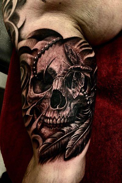 #skull #skulltattoo #native #warrior #mothman #feathers