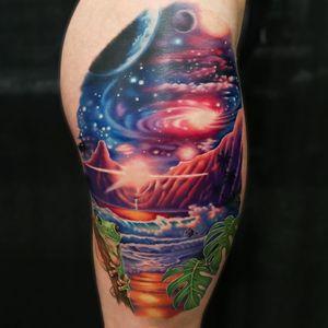 Tattoo by Liz Venom #LizVenom #tattoodoambassador #toptattoos #color #landscape #frog #leaves #ocean #galaxy #mountains #stars