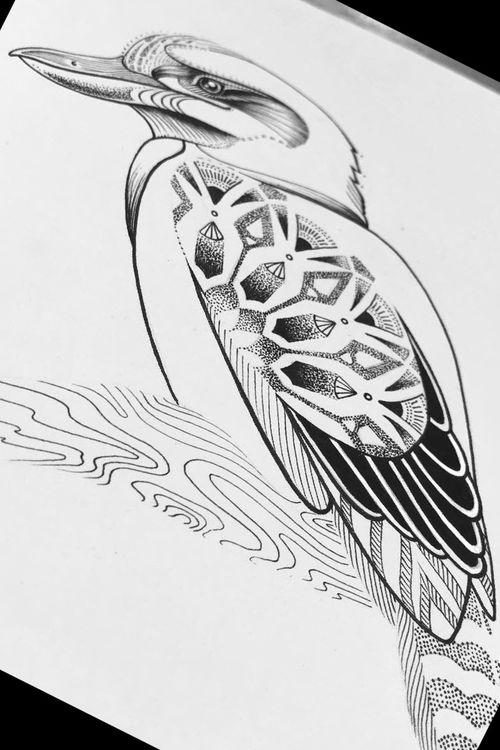 Inking of a kookaburra - #kookaburra #dotwork #linework #blackwork #blackAndWhite #ink #drawing #art #goldcoastaustralia #ladysky