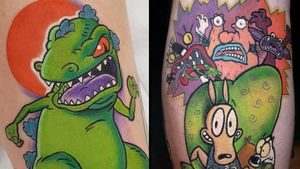 Tattoo on the left by Steve Chater and tattoo on the right by Cynthia Finch #CynthiaFinch #SteveChater #Nickelodeontattoos #nickelodeon #nicktattoos #cartoontattoos #newschool #90scartoon #90s #color #cartoon
