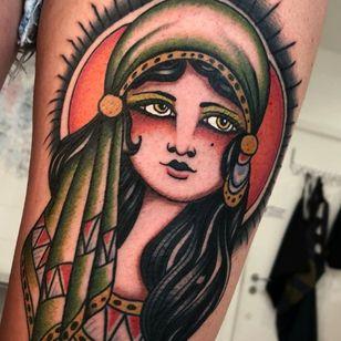 Lady head tattoo by Gianmarco Celli #GianmarcoCelli #traditional #gypsy #lady #ladyhead #portrait #sun
