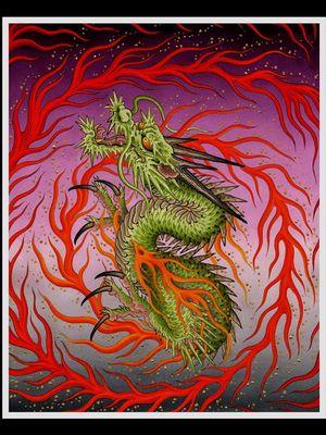 Painting by Matt Beckerich #MattBeckerich #Japanese #Irezumi #FountainheadNY #painting #tattooflash #dragon #fire