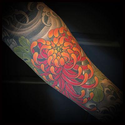 Tattoo by Matt Beckerich #MattBeckerich #Japanese #Irezumi #FountainheadNY #color #flower #floral #chrysanthemum