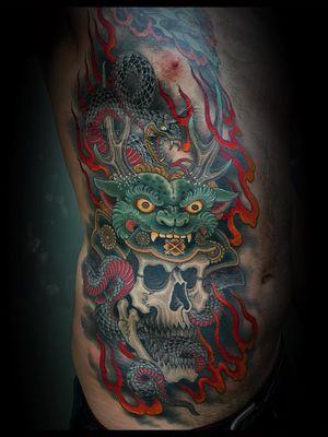 Tattoo by Matt Beckerich #MattBeckerich #Japanese #Irezumi #FountainheadNY #snake #skull #helmet #fire #death #warrior #samurai