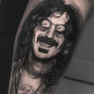Tattoo by Noa Yanni #NoaYanni #musiciantattoos #musician #portrait #music #FrankZappa #blackandgrey #realism #realistic