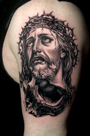 Very fun Jesus skulk mashup to represent mortality #jesus #religioustattoo #jesustattoo #skulltattoo #blackandgreytattoo #austintexas #austintx #ATX #Texas #tattoos