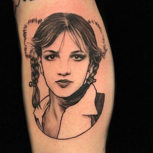 Tattoo by Holly Ellis #HollyEllis #musiciantattoos #musician #portrait #music #blackandgrey #illustrative #traditional #realistic #BritneySpears