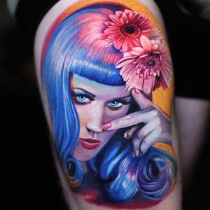 Tattoo by Luka Lajoie #LukaLajoie #musiciantattoos #musician #portrait #music #color #realism #hyperrealism #KatyPerry