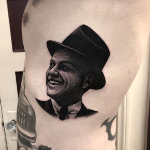 Tattoo by Tim Hendricks #TimHendricks #musiciantattoos #musician #portrait #music #blackandgrey #realism #realistic #FrankSinatra