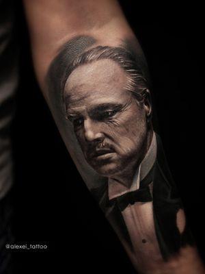 Tattoo portrait Don Vito Corleone. In progress. Black and white tattoo realistic by tattoo artist Alexei Mikhailov. #tattoorealistic #doncorleone #Godfather #blacktattoo #tattooportrait #tattoorealism #tattooart #tattooinked #tattoos #alexeimikhailov