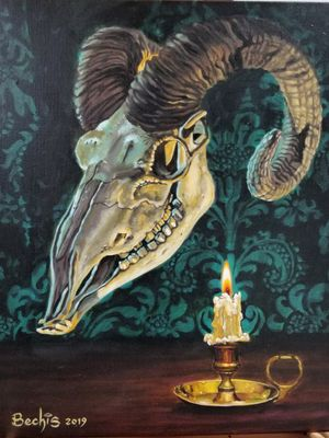 Finished! www.ettore-bechis.com #goatskull #candle #gothic #oilpainting #oiloncanvas #artist #painter #art #fun #artgallery #Miamibeach #Miami #winwoodmiami