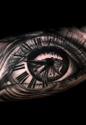 Heres a fun eye/clock mashup! #eyetattoo #realistic #clocktattoo #blackandgrey #tattooart #realism #austintx #ATX #austin #texastattoo