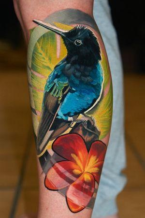 #colibri #hummingbird #plumeria tattoo, 2 days in a row