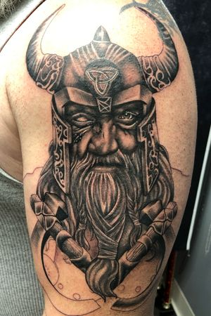 #wip Odin 5 hrs in on this hslf sleeve #tattoos #inked #tattooed #tattoolife #inkedup #inklife #instaart #tattoodesign #sleevetattoo #inkedlife #drawing #tattooist #inkaddict #travelingartist #colortattoo #tattooed #knoxville #knoxvilletattoo #knoxvilletattooer #peakneedles #quartzcartridges #blackandgrey #yckth #knoxtatts #xionstealth #mythicalcrew #tatted4life80