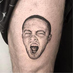 Tattoo by Kevin Cox aka Broke Kek #KevinCox #BrokeKek #musiciantattoos #musician #portrait #music #MacMiller #rapper #blackandgrey #realistic #realism #illustrative