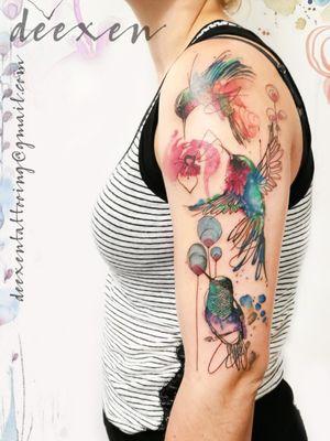 Secrets of a Summer Night  Contact: deexentattooing@gmail.com #inktattoo #hummingbirdtattoo #tatouage #watercolortattoo #watercolortattoos #watercolourtattoo #sketchtattoo #colortattoos #paristattoo #tattoo2me #wctattoos