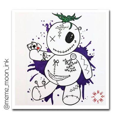 ♠️ LET'S PLAY A GAME ♣️ #moonart #voodoodoll #joker #suicidesquad #damaged #owndesign #tattoostencil #illustration #sketchbook #madness #darkart #bruja #fabercastell #tattoodesigner #stencilstuff #artist Instagram: meme_moon_ink