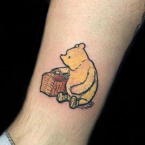 Tattoo by Natalie Morguette #NatalieMorguette #winniethepoohtattoos #winniethepooh #childrensbooks #cartoon #animated #disney #disneytattoo #picnic #illustrative