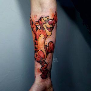Tattoo by Russell Van Schaick #RussellVanShaick #winniethepoohtattoos #winniethepooh #childrensbooks #cartoon #animated #disney #disneytattoo #color #tigger #watercolor #Illustrative