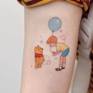 Tattoo by Saegeem #Saegeem #winniethepoohtattoos #winniethepooh #childrensbooks #cartoon #animated #disney #disneytattoo #color #christopherrobin #balloon #shapes #sparkle #cute #illustrative